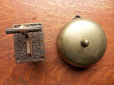 Antique Brass Craftsman Mechanical Doorbell &  Fancy Lever Pat 1872