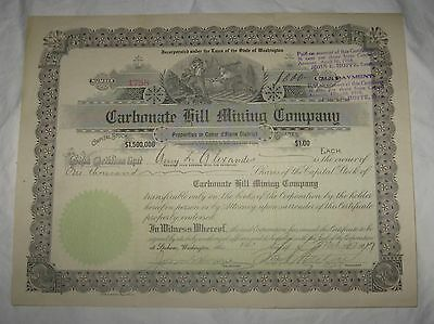Carbonate Hill Gold Mining and Milling Company Stock Certificate (Washington)