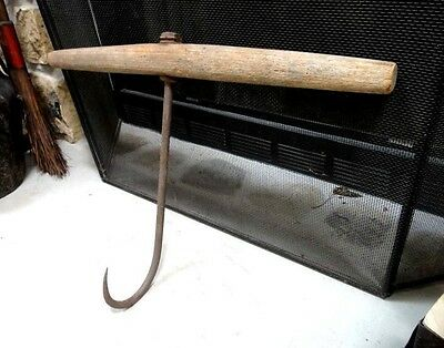antique LARGE WROUGHT IRON HAY HOOK w/WOOD HANDLE amish farm tool,lancaster pa