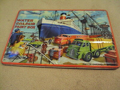 NICE Vintage Page London Tin Litho Water Color Paint Box - Made in England Tubes