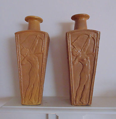Pair Art Deco Nudes Vases or Lamp Bases Yellow Ware