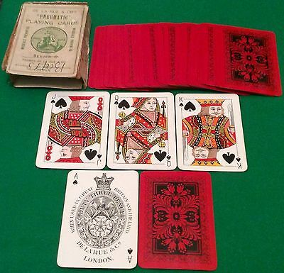 ANTIQUE c1910 DE LA RUE * FRAMED FLOWERS + FERN * WIDE PLAYING CARDS Herringbone