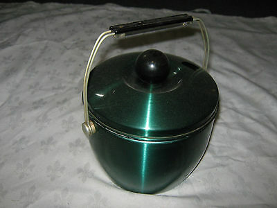 Rare Vintage 60's Retro Anodised Aluminium Green Lidded Ice Bucket
