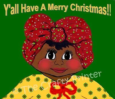 SET of 6 Black Americana CHRISTMAS CARDS - Y'all Have a Merry Christmas!