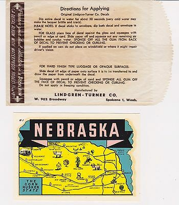 RARE NEBRASKA VINT COLORFUL 1960s LUGGAGE WINDSHIELD DECAL LINDGREN TURNER CO WA
