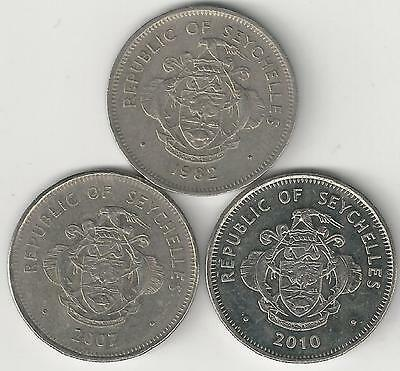 3 DIFFERENT 1 RUPEE COINS from SEYCHELLES (1982, 2007 & 2010)