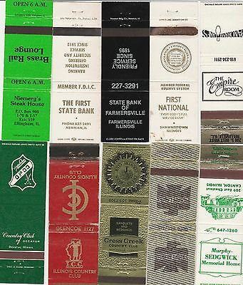 Lot Of 20 Different Illinois Matchbook Covers.  #1