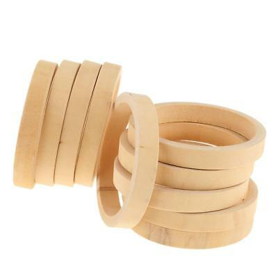 10 Unpainted Plain Wooden Bangles Unfinished Jewelry Making Decoupage Craft