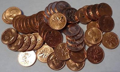 1964 Canada, Cent, Mint Roll, 50 Coins