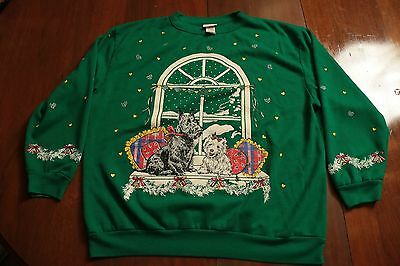 Vintage 80s 90s Christmas Scottish Terrier Dog Sweatshirt Ugly Sweater Holiday L