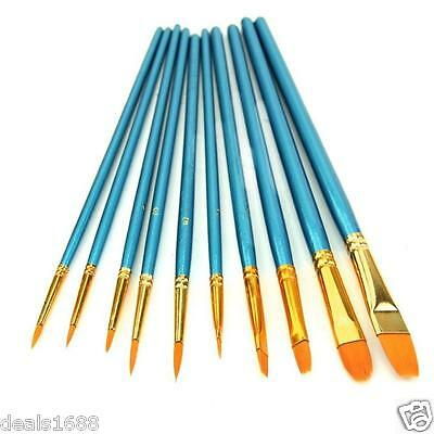 10Pc/Set Artists Paint Brush Set Acrylic Watercolor Round Pointed Tip Nylon Hair