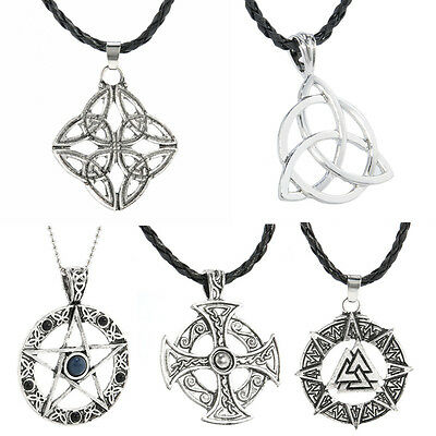 Retro Symbol Celtic Knot Solar Cross Star Trinity Pewter Pendant Chain Necklace