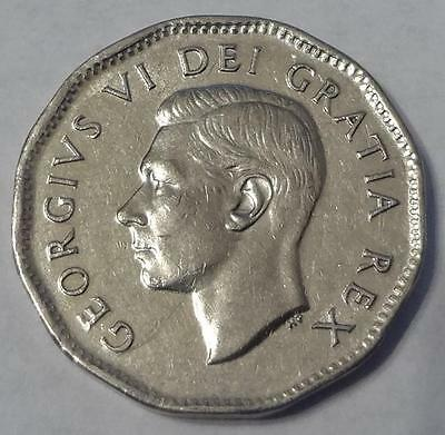 """1950 Canada, 5 Cents, Double """"canada"""" & Date, Sharp Details"""