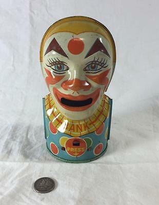 vtg Chein Tin Lithograph Mechanical Clown Bank - Great Colors & Condition!
