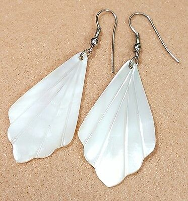 Jewelry Earrings Pierced Mother Of Pearl Shells Unique Dangle Design #2584