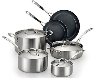 Lagostina Axia Tri-Ply Stainless Steel Ceramic 10 Piece Cookware Set Q552SA6 NEW