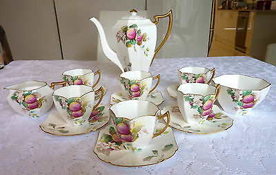 "Stunning Rare SHELLEY Queen Anne ""PLUMS"" Coffee Set Complete"