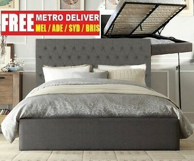 Norman Gas Lift Double Queen King Size Grey Black Charcoal Fabric Bed Frame