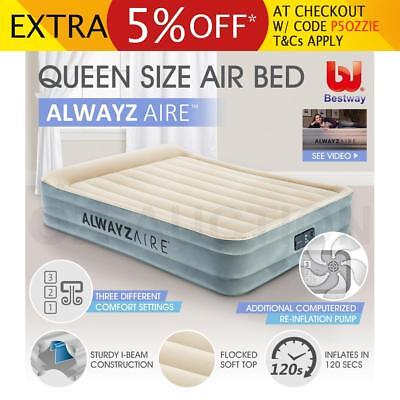 Auto-Inflation Bestway Queen Mattress Built-in Pump Flocked Camping Air Bed