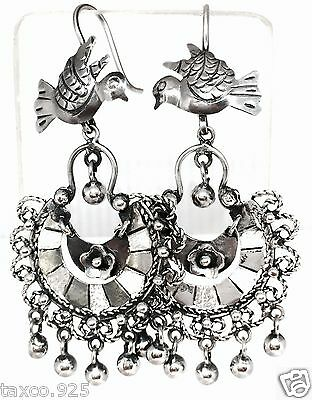 Frida Kahlo Style Taxco Mexican 925 Sterling Silver Bird Earrings Mexico