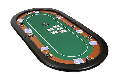Champion Folding Poker Table Top in Green Speed Cloth 180cm w Armrest