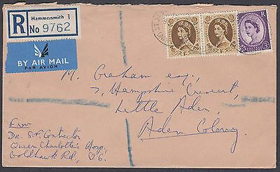QEII 1s+1s+3d Hammersmith Registered Airmail to Aden Colony