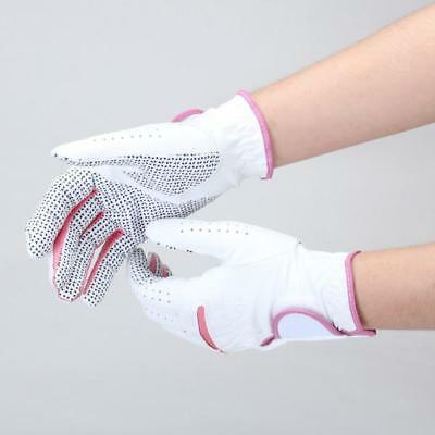 Pair Women's Lady Soft Leather Anti-slip Golf Gloves Glove Club Outdoor Sports