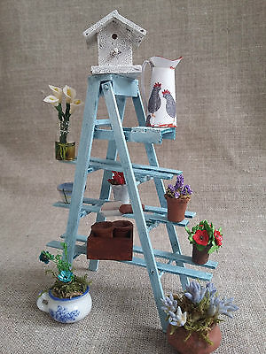 Dolls House Display Etagere for Garden / Conservatory. Hand-Made Shabby Shelf