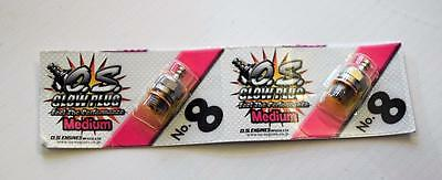 O.S  No 8 Medium  Glow Plug 2 Pack
