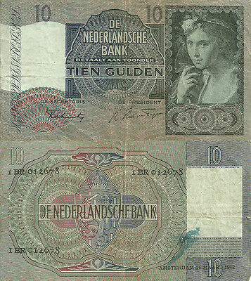 A-20-2A, NETHERLANDS 10 GULDEN 1942 P-56b, VF/CIRCULATED £1 off sale price