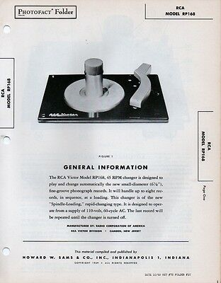 1949 Rca Victor Rp168 45Rpm Record Player Service Manual Photofact Changer Fix