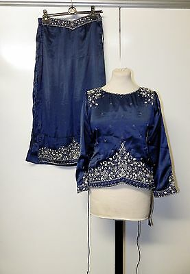 Oriental Blue Embellished Silk Top & Trousers w/ Scarves Size 8/10