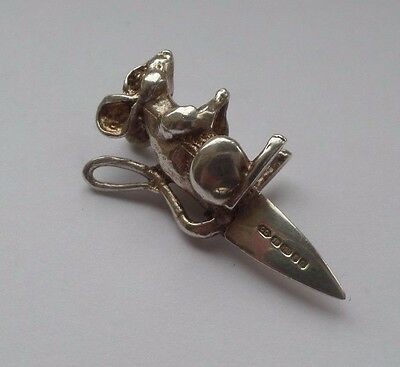 Solid Silver Miniature Mouse Cheese Marker Hallmarked 2002