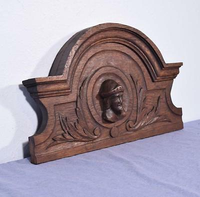 "*20"" French Antique Pediment/Crest in Oak Wood with a Mans Head"