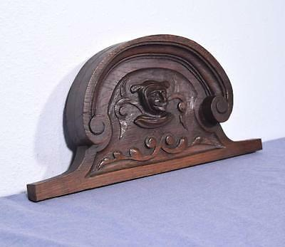 "*18"" French Antique Pediment/Crest in Oak Wood with Jester's Face"