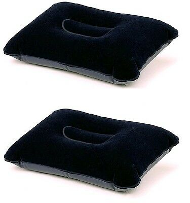 Flocked Inflatable Lightweight Pillows Pack of 2 Camping Holidays, Travel