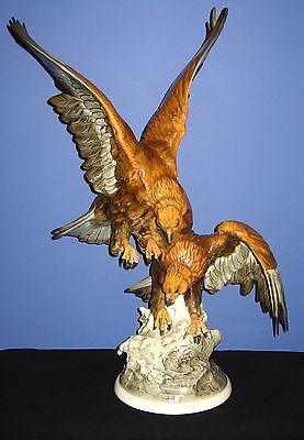 """Hutschenreuther KARL TUTTER Large Sculpture """"TWO / DOUBLE EAGLES"""" 25"""" Tall"""
