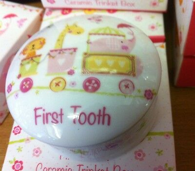 First Tooth New Baby Girls Ceramic Trinket Box With Box Pink Fab Quality Gift