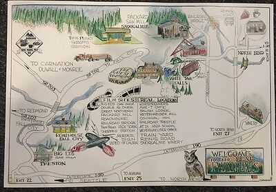 "Vintage 1992 Original Twin Peaks Fest TV Show Map 17""x12"" Real Locations WA"
