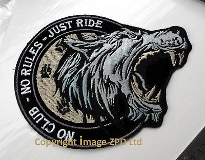P1 No Club No Rules Just Ride Biker Wolf Iron on Patch Motorcycle