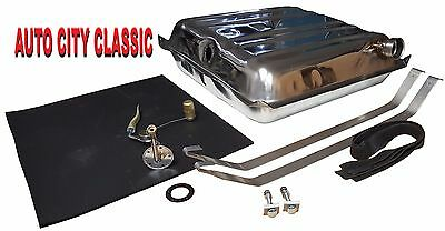 "57 Chevy Stainless gas tank, 3/8"" sending unit, strap kit & tank pad"