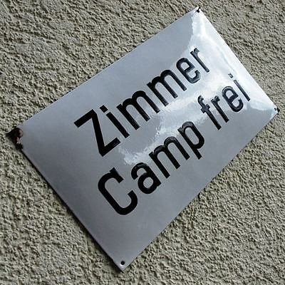 ZIMMER CAMP FREI Altes Emailschild um 1955 TOP, FETT + RAR Hotel Pension Camping
