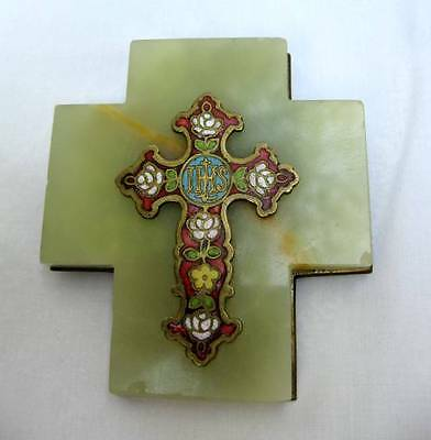 Vintage French Champleve Enamel Onyx Brass Wall Cross