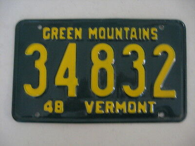 1948 Vermont License Plate, Number 34832,gold On Green, Green Mountains