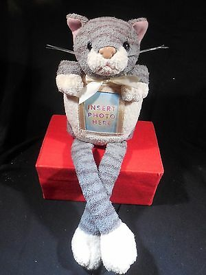 Sitting Plush Grey Kitty Cat Picture Frame