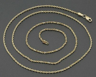 """24"""" Solid 14K Yellow Gold 1.5mm Diamond-Cut Rope Chain Necklace 5.6 Grams"""