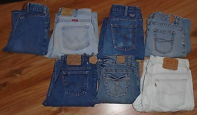Lot Vintage Lot Of 7 Womens & Mens Jeans Levis Red Tab Gwg Wrangler Blue Notes