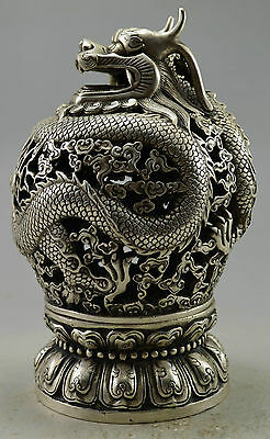 Collectible Decorate Old Handwork Silver Plate Copper Dragon Ball Incense Burner