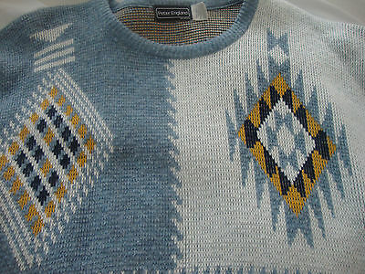 Vtg Mens 1980s PETER ENGLAND nordic ABSTRACT ACRYLIC CREWNECK Sweater LARGE L