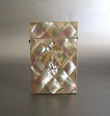 Mother Of Pearl Card Case Silver Button Downton Abbey Antique Beautiful